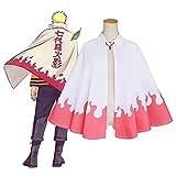 TTIK Naruto Anime Cosplay Disfraz Séptima Generación Blanco Rosa Unisex Naruto Capa Halloween Cosplay Uniforme