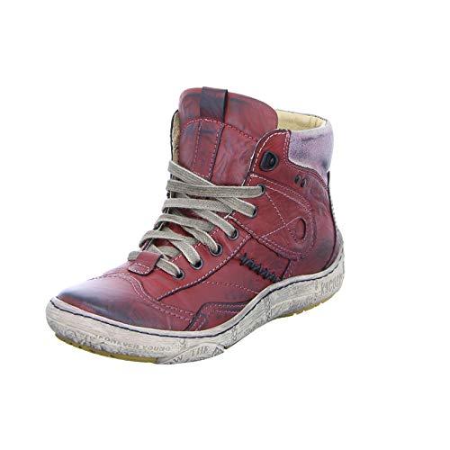 Kacper 4-4969 Damen Stiefelette Schnürer Sneaker High-Top Stiefel Reißverschluss Rot (Red) Größe 38 EU