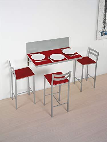 ASTIMESA Mesa de Cocina de Pared Multiposición Rojo 50x90cm