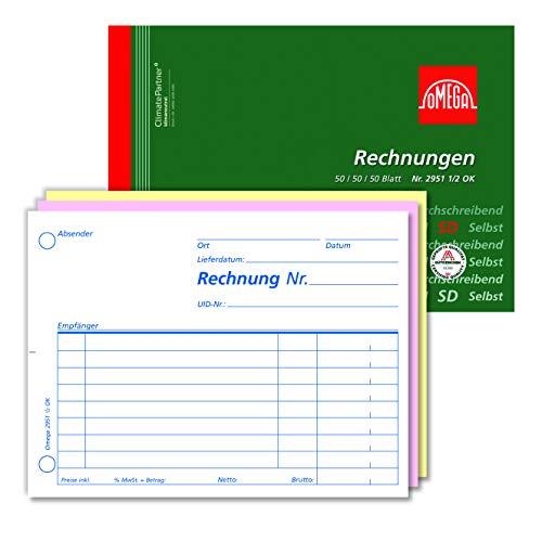 Omega 2951 1/2 OK rekenboek, zelfdoorschrijvend, A6 dwars, papieropname, 3 x 50 vellen, wit/roze