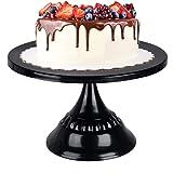 LONGBLE Schwarze Tortenplatte mit Fuß, Tortenständer Servierteller Cake Display Stand Kuchen Gebäck Süßigkeit Anzeige für Party Hochzeit Weihnachten Ø 25 cm, Metall, Schwarz glänzend