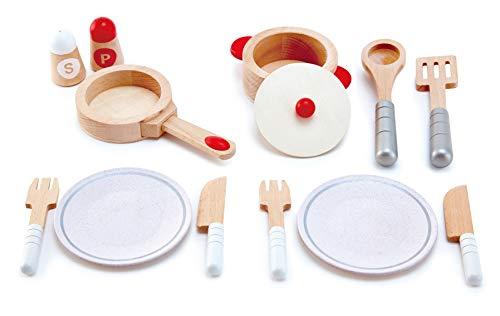 Hape International Juego Completo Cocinar y Servir, Juego de Cocina de Madera de 13 piezas con Accesorios