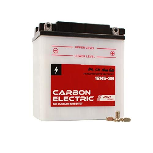 Carbon Electric Batterie 12N5-3B Motorradbatterie 12V 5Ah Akkumulator Motorrad Roller Rollerbatterie