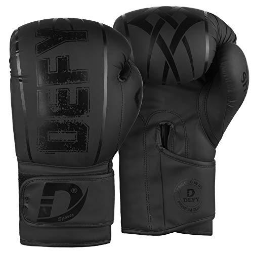 DEFY Boxing Gloves for Men & Women Training MMA Muay Thai Premium Quality Gloves for Punching Heavy Bags Sparring Kickboxing Fighting Gloves (Black, 10oz)