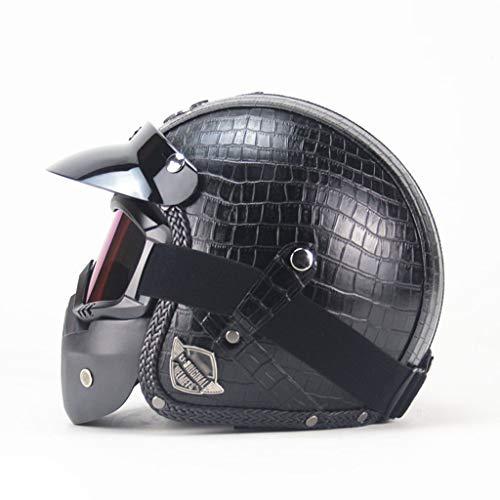 DJCALA 3/4 Open Face Adults Retro Helmet Motorcycle Leather Men and Women Half Helmet Black DOT Certified Vintage Jet Helmet for Cruiser Chopper Moped Scooter Helmet with Sun Visor (57-64cm)