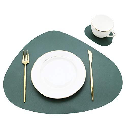 Olrla Tischsets und Untersetzer aus PU-Leder 2er-Sets, kopfsteingepflastert, Wärmeisolierend Schmutzabweisend rutschfest (tiefgrün, 2 Tischsets + 2 Untersetzer)
