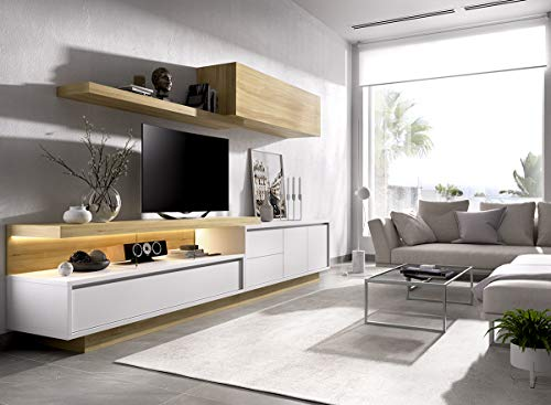 ambiato Wohnwand Duo 4 - Lowboard mit Auszug, TV Bühne mit Glaswangen, Stellmaße: 300x45 cm