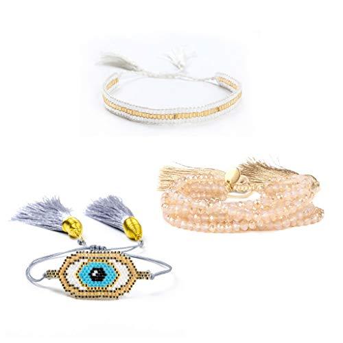 Viesky Handgemaakte Zaad Kralen Evil Eye Lip Armband Vrouwen Sieraden Set Loom Weave Sieraden 2