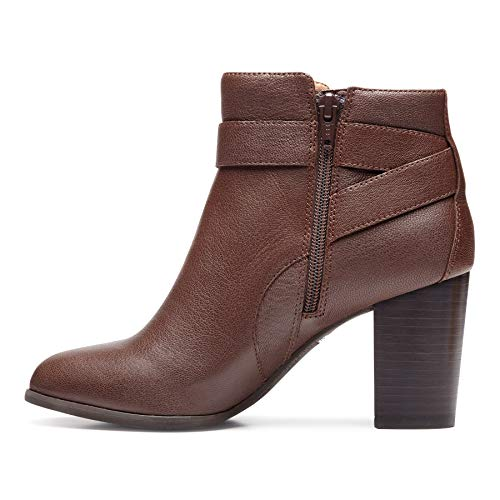 Vionic Women's Perk Alison Ankle Boots- Ladies Booties with Concealed Orthotic Arch Support Chocolate 10 M US