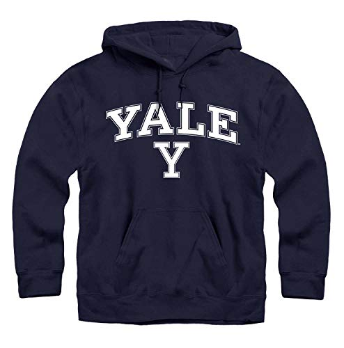 Campus Colors NCAA Adult Arch & Logo Gameday Hooded Sweatshirt (Yale Bulldogs - Navy, XX-Large)