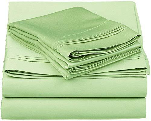 Exclusive Sheets Algodón egipcio – 800 hilos – Juego de 4 sábanas – sábana encimera + sábana bajera ajustable de 30 cm de profundidad + 2 fundas de almohada Sage, Reino Unido Emperor