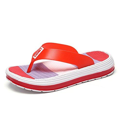Damen Zehentrenner Sandalen Sommer Strand Flip Flops mit Plateau Sohle, Rot - 39 EU