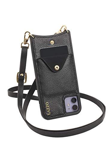 LAZZO Handykette [Dora] - Premium Handyhülle mit Band iPhone 11 - Stylische Handytasche zum Umhängen mit extra Kreditkartenfach (Schwarz - Schlicht)