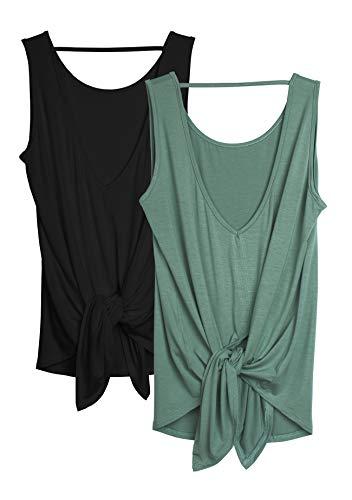 icyzone Chaleco Deportivo Fitness de Espalda Abierta para Mujer (XL, Negro/Ágata Verde)