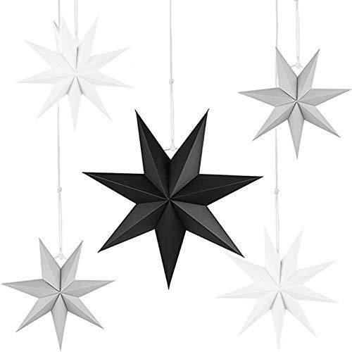 5er Set Faltsterne Papier Stern 9 Zacken Faltsterne Weihnachtsstern für Weihnachtsbaum Dekor Ornament Set