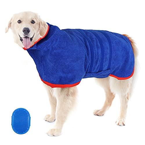 Mikrofaser Hundebademantel,Hund Bademantel Soft Bademantel mit Badebürste,Hund Badetuch Schnell Trocknend Verstellbar Trägern Super Saugfähig Feuchtigkeit,Hundehandtuch zum Trocknen nach dem Baden,XXL