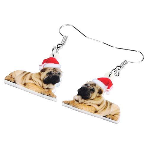 ESIVEL acryl kerstmuts Shar Pei hond oorbellen Big Long Animal Drop Dangle sieraden voor vrouwen meisjes party decoratie geschenk bulk