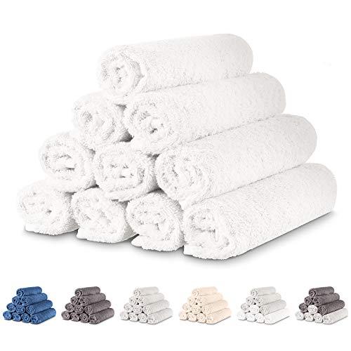 Twinzen - 10 x Pequeñas Toallas de Mano 30x50 cm. Blanco. Toallas de Baño para Mano, Esponja, Set de Baño, Juego de Toallas de Mano, pequeñas Toallas de Mano para el Lavabo