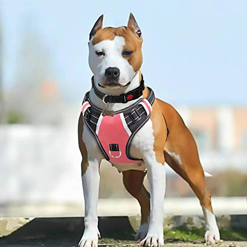 BABYLTRL Big Dog Harness No Pull Adjustable Pet Reflective Oxford Soft Vest for Large Dogs Easy Control Harness (L, Pink)