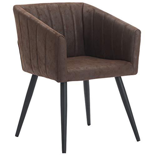 Esszimmerstuhl aus Stoff (Samt) Farbauswahl Retro Design Stuhl mit Rückenlehne Sessel Metallbeine Duhome 8065, Farbe:Dunkel Braun, Material:Lederoptik
