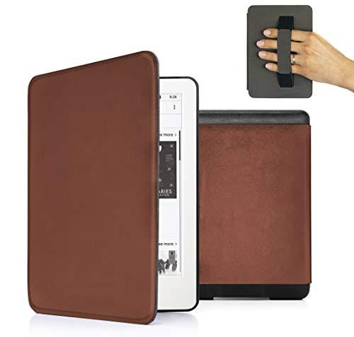 MyGadget Etui pour Amazon Kindle Paperwhite 2018 - Cover Simili Cuir - Poignée élastique & Fonction Auto Réveil/Sommeil - Flip Case PU Leather - Marron