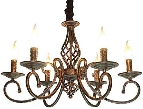 6- luces antigüedades antigua hierro metal lámpara colgante lámpara pueblo vela retro araña iluminación cocina mesa de comedor suspensión lintern estadounidense país restaurante colgante luz e14 ediso