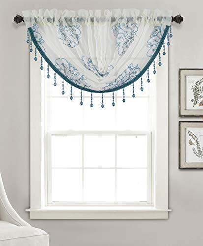 Olivia Gray Blue Bergen Floral Embroidered 47 x 37 in. Swag Valance