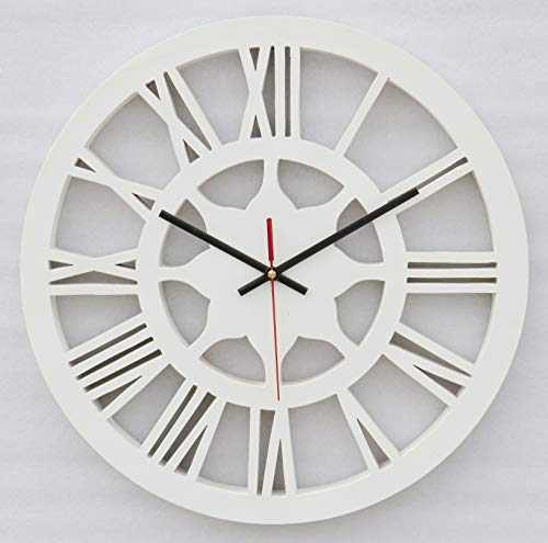 A One Shoppe Material: MDF, Wall Clock 16x16 inch (White-Flower)