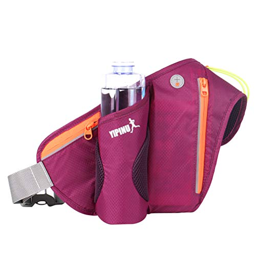Running Belt Waist Pack Water Resistant Waist Bag with Water Bottle Holder for Man Women Sports Travel Hiking Cycling Camping (Purple)