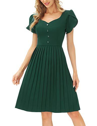 JASAMBAC - Vestidos casuales con cuello corazón y manga de pétalos, plisados y acampanados para mujer, L, Olive Green