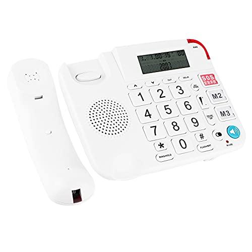 Téléphone à Grand Bouton pour Les Personnes âgées, Téléphone à Volume élevé à Une Touche SOS pour Les Personnes âgées Malentendantes, Appels Mains Libres Durables Téléphone Fixe
