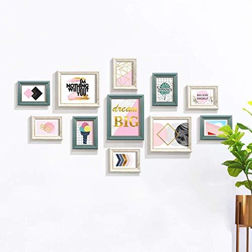 HEWEI Wandgarderobe set met fotolijsten voor foto, muur of bureau, met glazen vensters en fotoshootings versierd voor woonkamer 2 stijlen, 11 stuks (kleur: A)