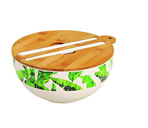 GW GmbH Salatschale Bambus mit Salatbesteck und Holzdeckel Salatschüssel Schale Schüssel Palemblätter