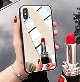 Shinyzone Miroir Coque pour iPhone 7,Élégant Argent Dur PC Retour Housse étui,Pare-Chocs Flexible en Silicone avec Mode Miroir Maquillage pour iPhone 8,Miroir Argent
