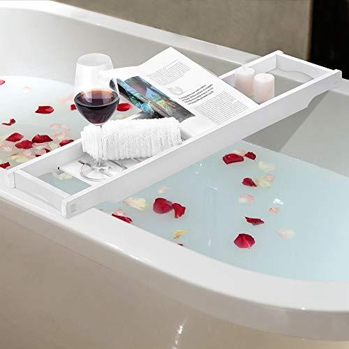 ROBTLE Badewannen-Ablage, modern, weiß, MDF, Badewannen-Organizer für Bücher, Wein, Telefon, Waschsieb, 70 x 16 x 4 cm