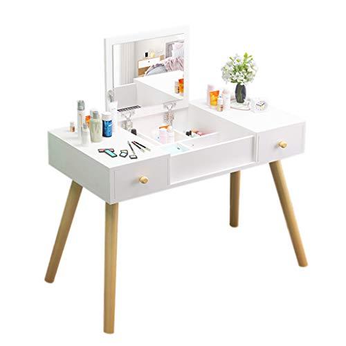 Silk Road YX Dressing Table Schminktisch-Set mit Klappspiegel und Hocker Make-up-Waschtisch Große Stauräume und 2 Schubladen