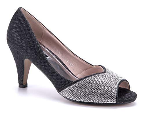 Schuhtempel24 Damen Schuhe Peeptoes Pumps schwarz Trichterabsatz Glitzer/Ziersteine 7 cm
