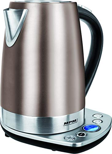 MPM MCZ-57/G1 Hervidor de Agua Electrico Inalambrico de Acero Inoxidable, 1,7 Litros, 2200W, Libre de BPA, Beige