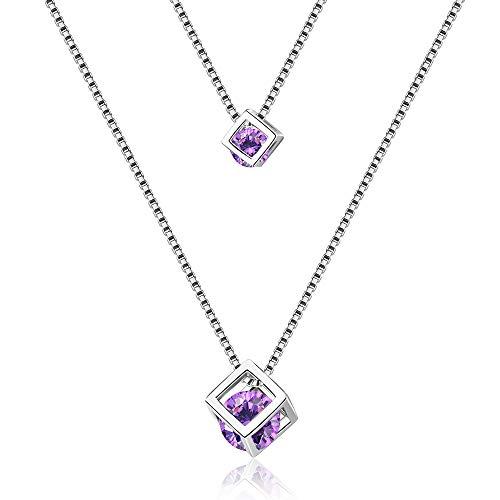 Collar de cristal morado para mujer con colgante de plata, collar de Navidad, joyería de regalo para mujeres