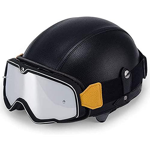 Casco de cuero PU con gafas retro, personalidad masculina y femenina casco de motocicleta Harley motocicleta retro bicicleta eléctrica medio casco + protector facial (todos los tamaños: 54-61 cm)