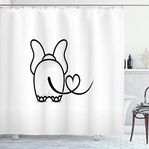 ABAKUHAUS Romantisch Duschvorhang, Gekritzel-Elefant-Entwurf, mit 12 Ringe Set Wasserdicht Stielvoll Modern Farbfest & Schimmel Resistent, 175x200 cm, Weiß Schwarz