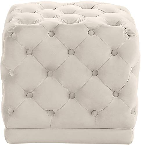 Meridian Furniture Stella Collection Modern | Contemporary Velvet Upholstered Ottoman / Stool with Deep Button Tufting and Solid Wood Frame, Cream, 18