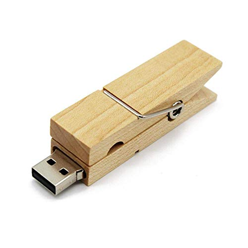 Fliyeong Clip de madera USB2.0 32G Flash Drive U Disco Almacenamiento externo Foto USB Stick Pen Drive Nuevo lanzado