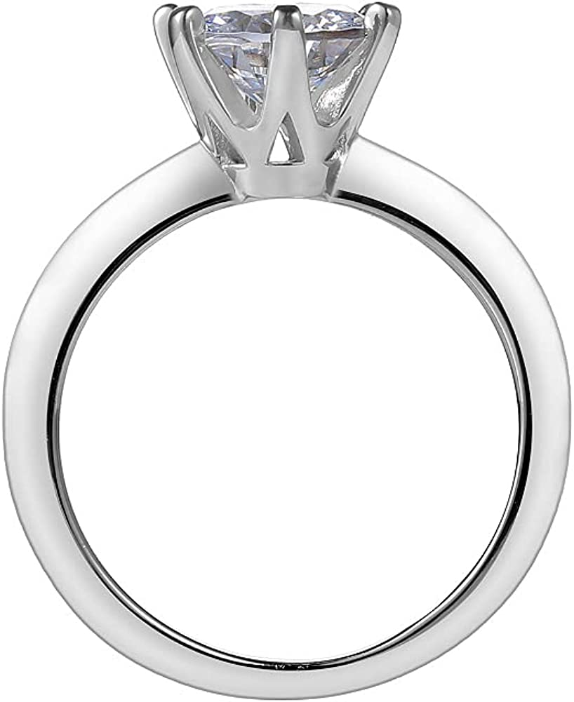 ADKOMN 6Prong 0.5/1.0/2.0 Carat White Gold Plated Round Cut Cubic Zirconia Solitaire Promise Engagement Wedding Anniversary Ring for Women