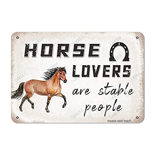 SWT-T Horse Lovers are Stable People A Running Horse Tin Retro Look 8X12 Inch Decoration Poster Firmar