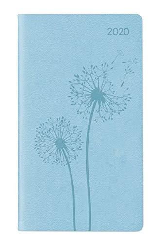 Ladytimer Slim Deluxe Pastel Blue 2020 - Taschenplaner - Taschenkalender (9 x 16) - Tucson Einband - Motivprägung Pusteblume - Weekly - 128 Seiten