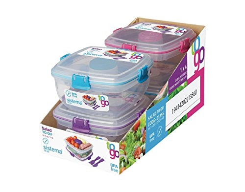 Sistema To Go Collection Salad to Go Food Storage Container , 37 oz, Clear with Assorted Color Accents by Sistema