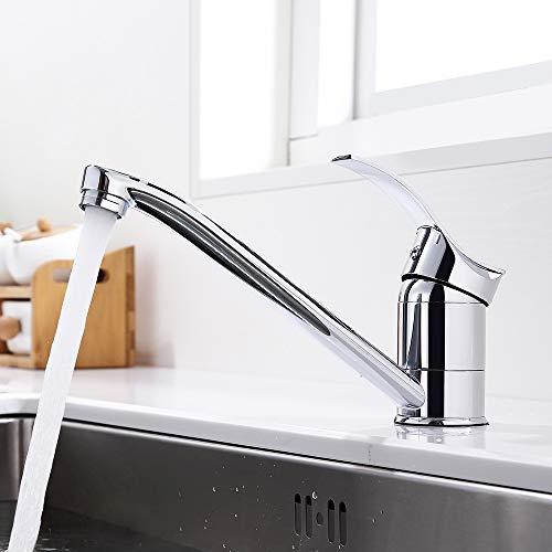 GAVAER Küchenarmatur, spezielles kompaktes Design, um 360 ° drehbare Küchenmischbatterie, Einhandgriff mit Keramikventil, verchromtes massives Messing sowie heißes und kaltes Wasser erhältlich
