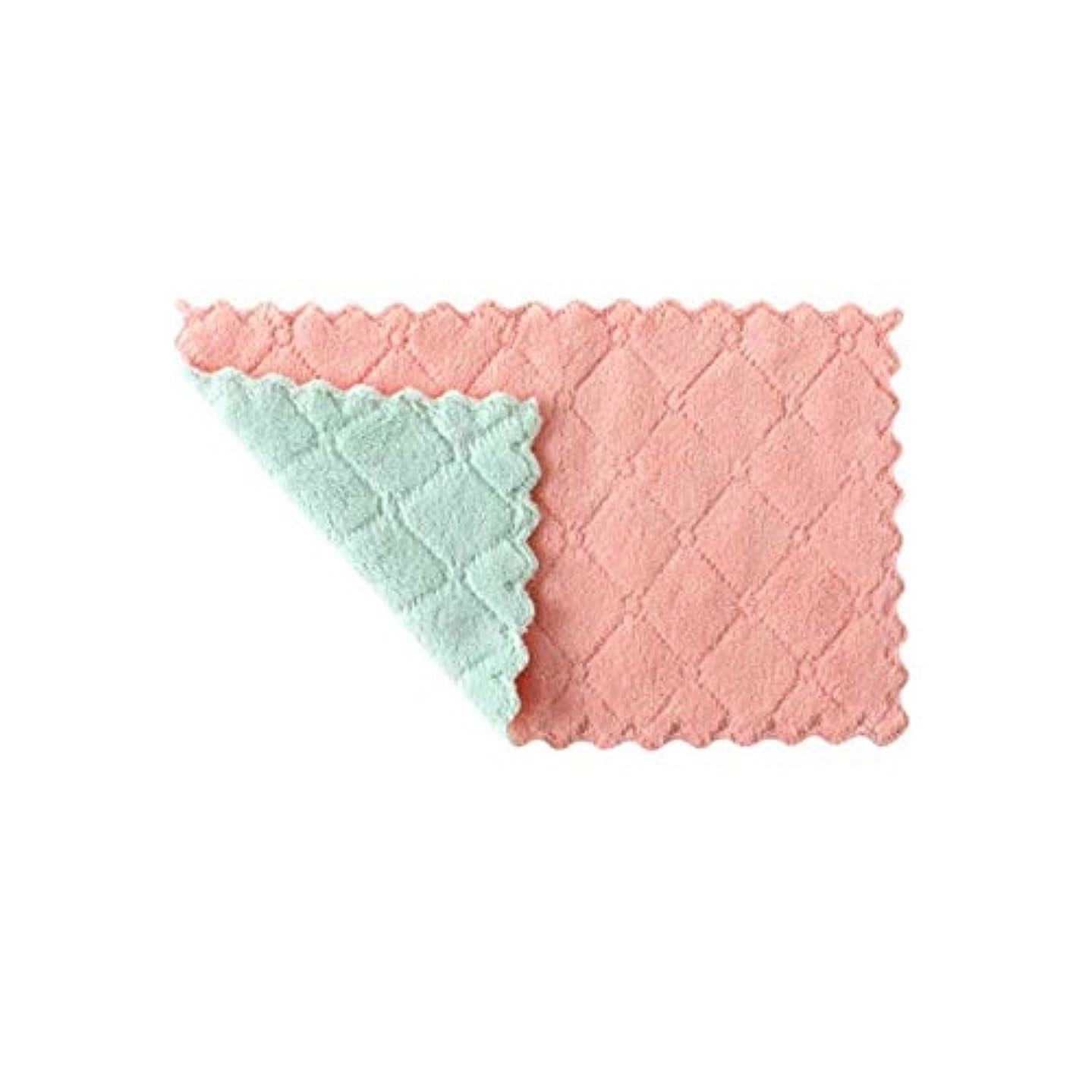 割り当てより多い粘着性ホーム&キッチン 3ピース家庭用キッチンタオル吸収厚い二重層マイクロファイバーワイプテーブルキッチンタオルクリーニング皿洗い布 クリーニング用品 (色 : Pink Green)