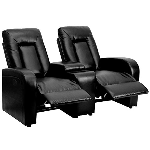 Flash Furniture Eclipse Series 2-Seat Push Button Motorized Reclining Black LeatherSoft Upholstery Theater Seating Unit with Cup Holders